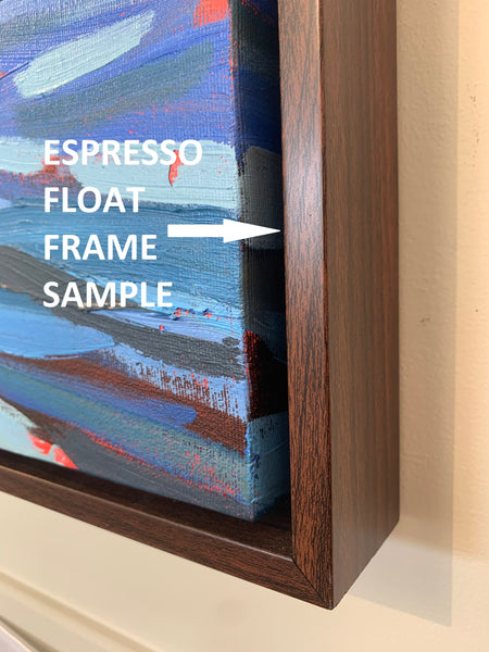 Sample of solid wood float frame in Espresso (darker brown) color
