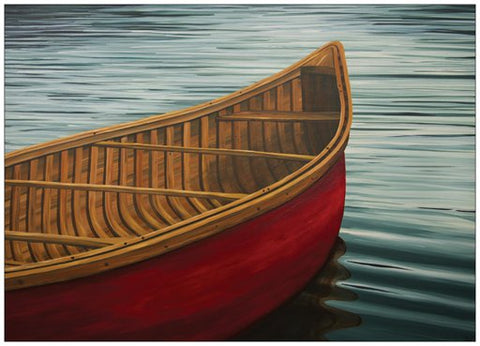 Red Canoe Painting Postcard