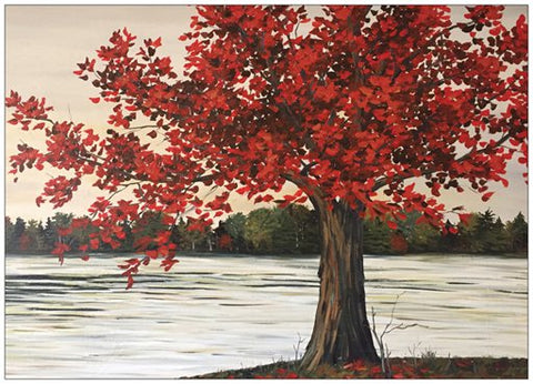 Red Maple Tree Painting Postcard