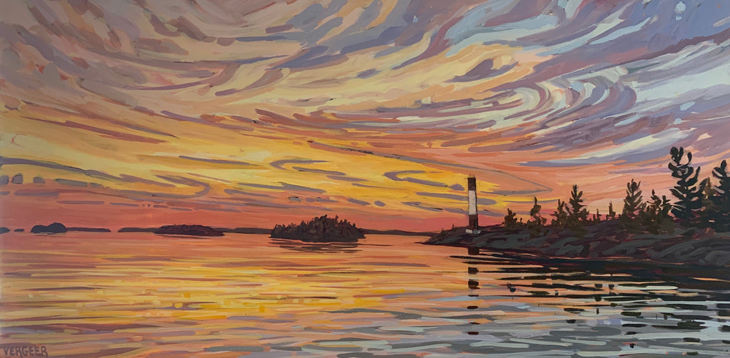 Killbear Lighthouse Sunset - 24x48