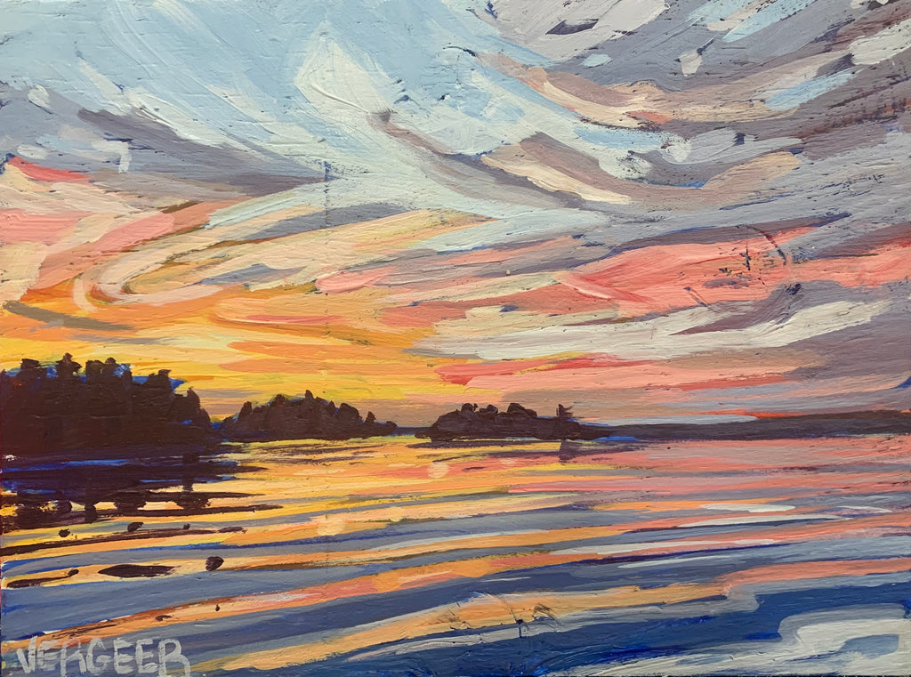 Sunset Near Rose Island Series 2 Miniature Painting