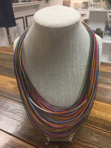 Moth Jewelry Waxed Linen Necklace - Rainbow