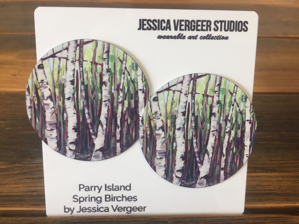 Parry Island Spring Birches 2-inch Earrings