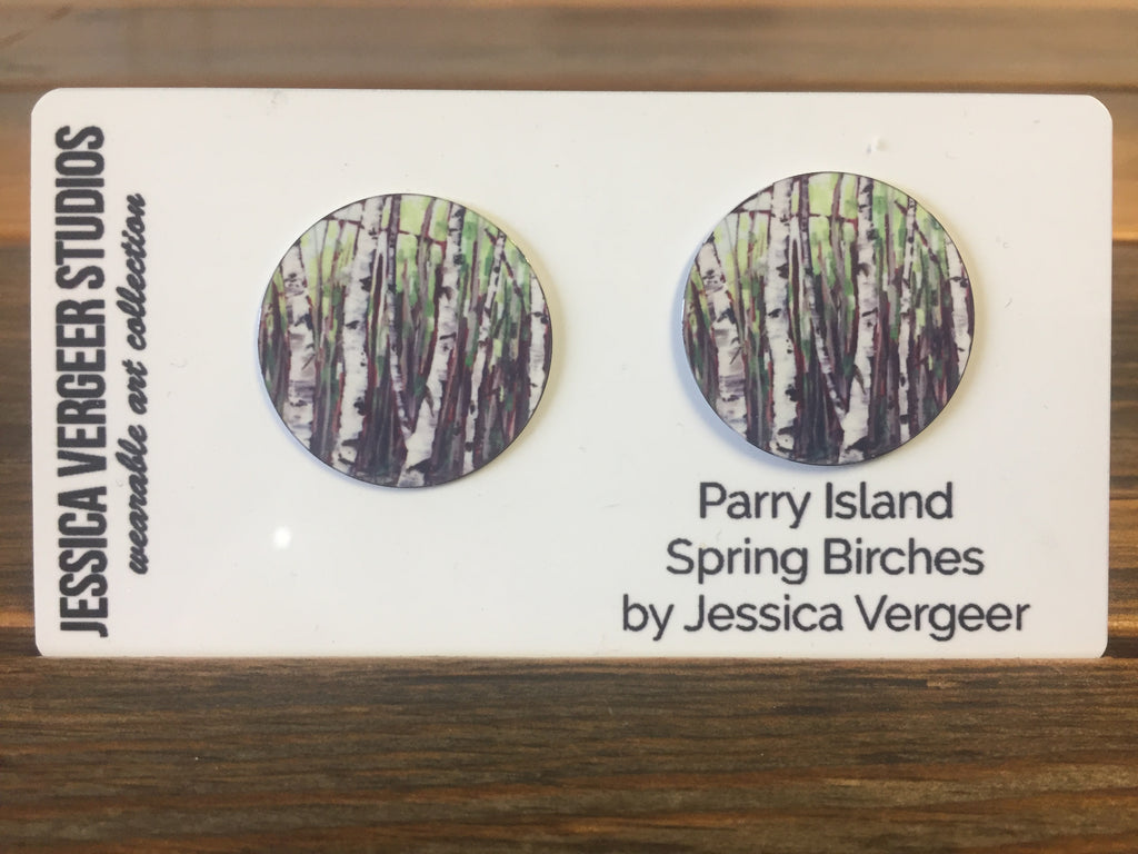 Parry Island Spring Birches 1-inch Earrings