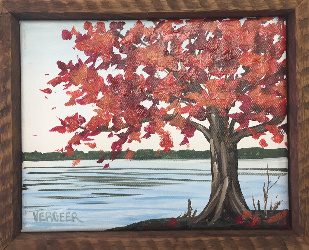 Red Maple Tree 8x10 Framed Painting