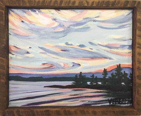 Waubuno Beach Sunset 8x10 Framed Painting