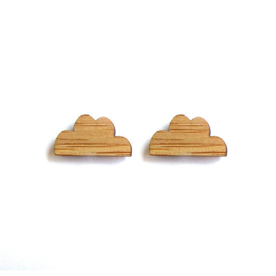 Bamboo wood earrings - Clouds