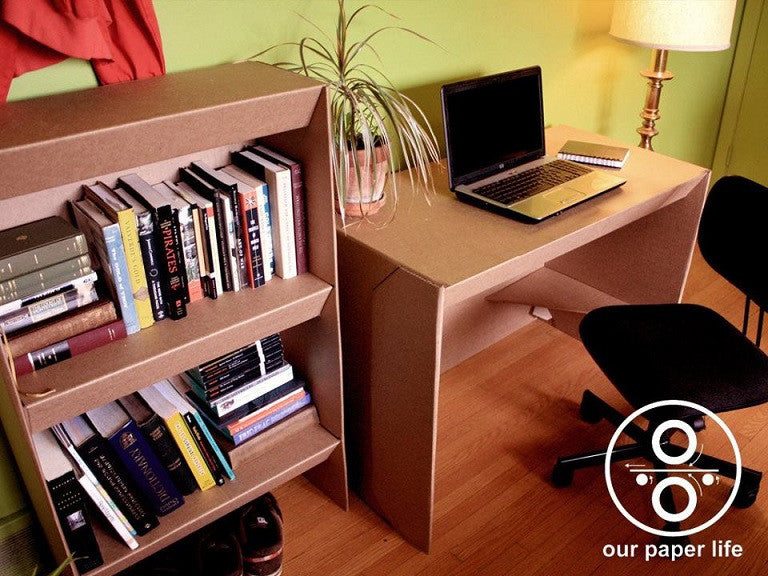 Cardboard Desk + Shelf Combo