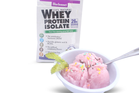 Bluebonnet Whey Protein Isolate Mixed Berry protein powder as an ice cream like dessert.