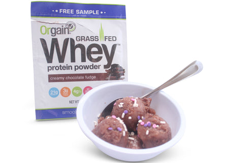 Orgain Grass Fed Whey creamy chocolate fudge protein powder as an ice cream like dessert.