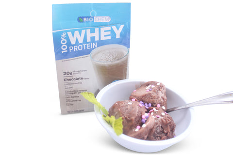 Country Life Vitamins BioChem chocolate whey protein powder as a yummy ice cream like dessert.