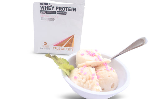 Vitamin Shoppe's @VitaminShoppe True Athlete Natural strawberry whey protein powder as an ice cream like dessert.