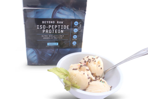 Beyond Raw Iso-Peptide Vanilla protein powder as an ice cream like dessert.