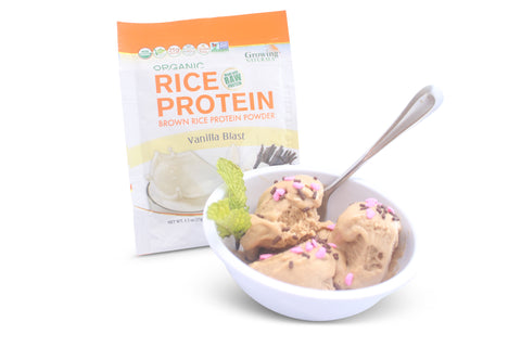 Growing Naturals vanilla blast organic rice protein powder as a nice cream like dessert.