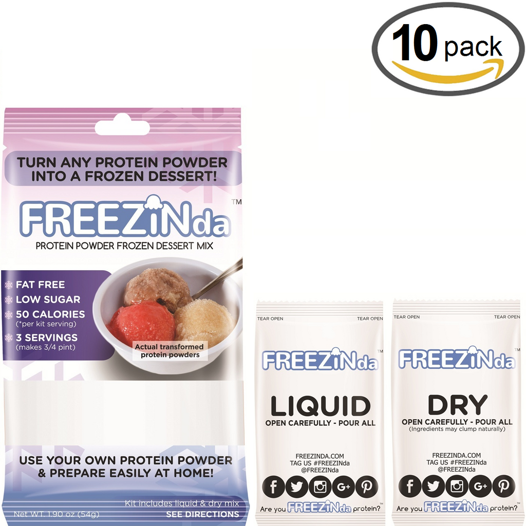 FREEZINda Whey Protein Powder Ice Cream Like Frozen Dessert Mix Packaging Front