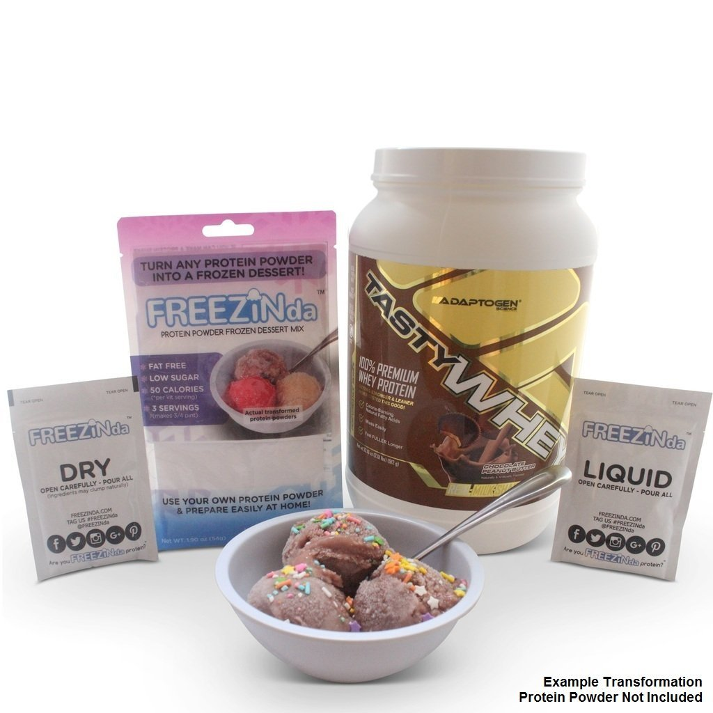 FREEZINda Packaging With Adaptogen Whey Protein Powder As Ice Cream Like Dessert Example
