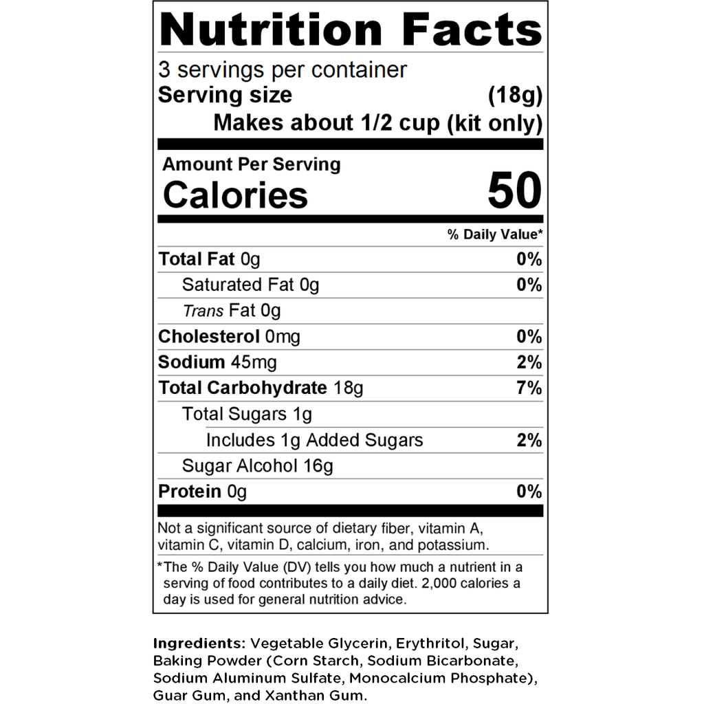 FREEZINda Nutrition Facts/Label