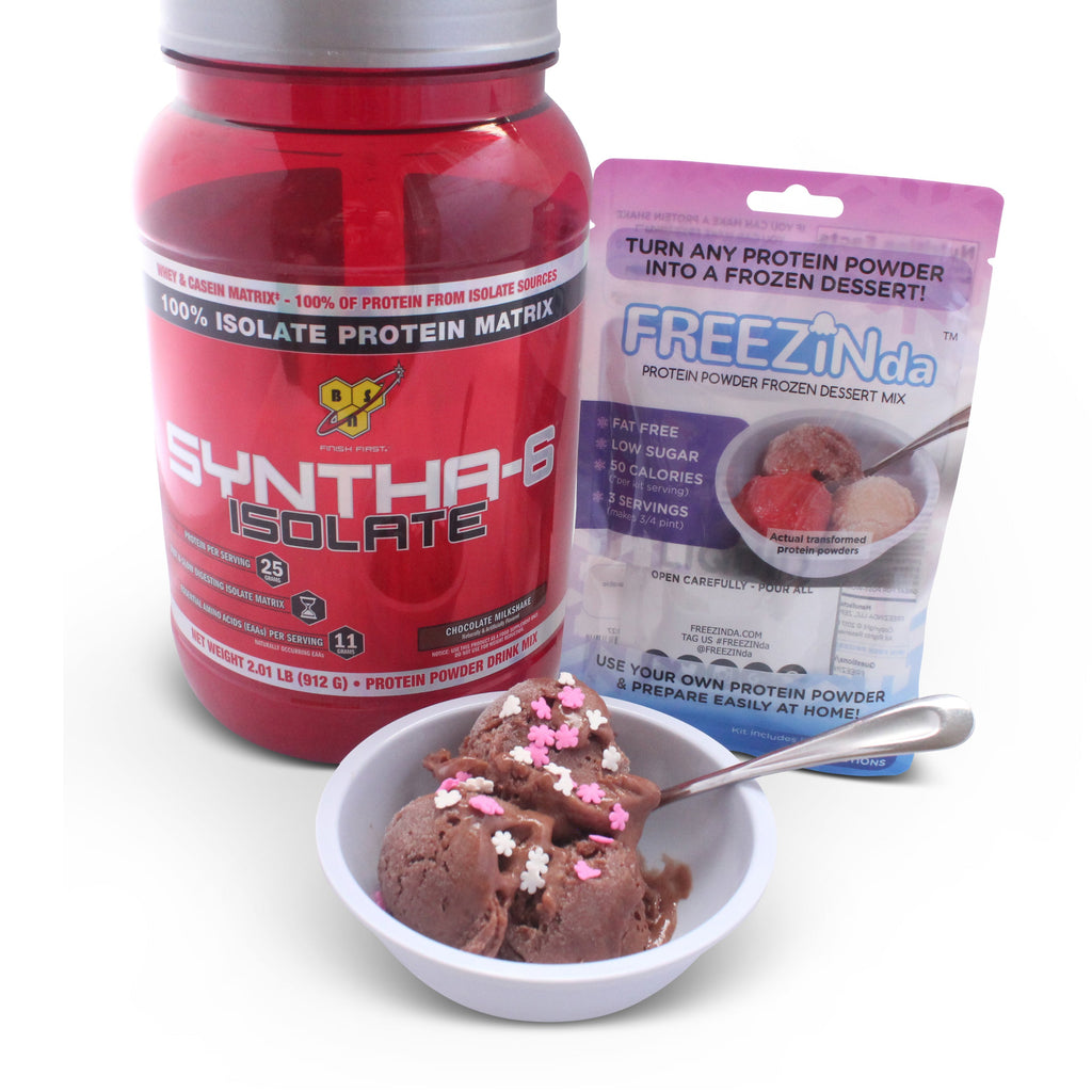 BSN SYNTHA-6 ISOLATE Protein Powder, Whey Protein Isolate, Milk Protein Isolate, Flavor: Chocolate Milkshake, 24 Servings, BSN ON As Ice Cream Like Dessert With FREEZINda