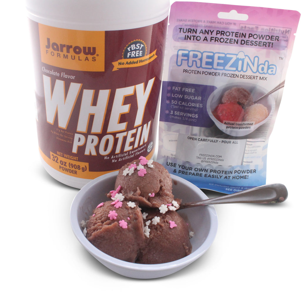 Jarrow Formulas Whey Protein, Supports Muscle Development, Chocolate, 32 Oz, As Ice Cream Like Dessert With FREEZINda