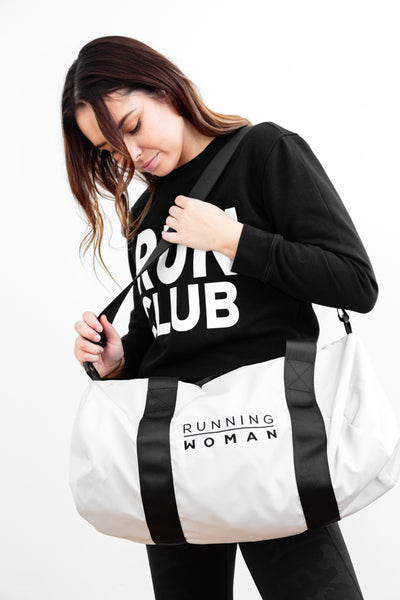 Running Woman White Barrel Bag