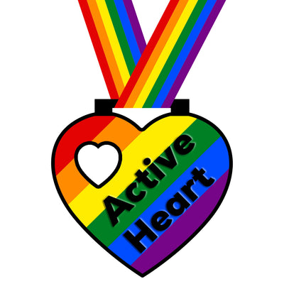 Active heart rainbow reward medal