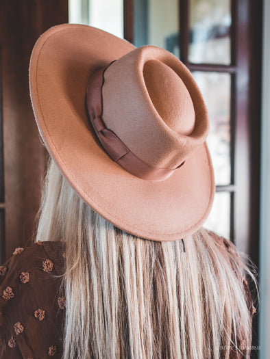 Camel Boater | Wide Brim Fashion Hat | Ruby's Rubbish®