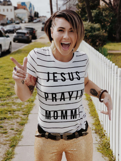 Jesus Prayin' Momma | Women's Striped T-Shirt | Ruby's Rubbish®