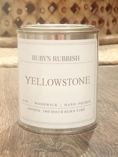Yellowstone Paint Can | Woodwick Hand Poured Candle | Ruby's Rubbish®