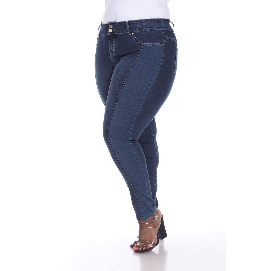 Super Stretch Denim With Leopard Pannel - Plus Size - Upton Boutique