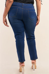 Rise Straight Cut Denim Jeans - Upton Boutique