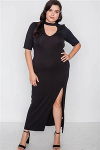 Site Slit Mock Neck Maxi Dress