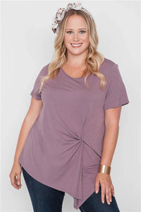 Plus Size Lilac Short Sleeve Twist Front Top