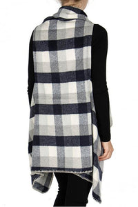 Plaid Shawl Vest