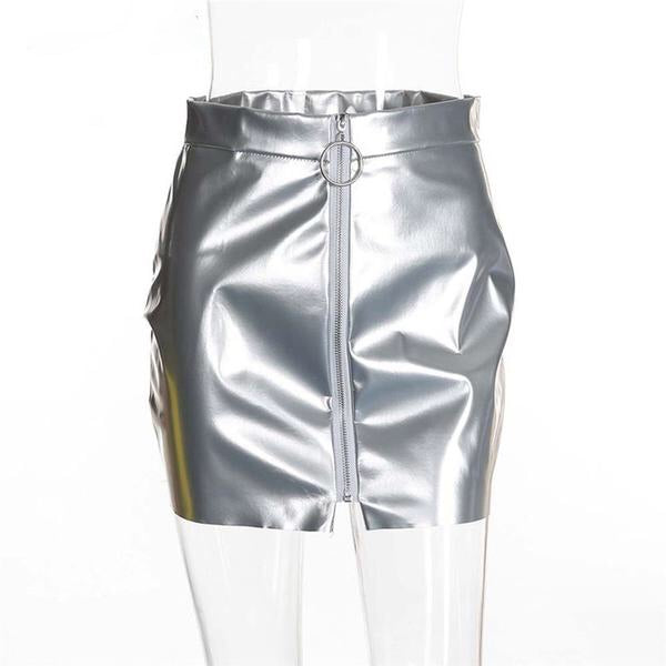 Zipped Leather Mini Skirt