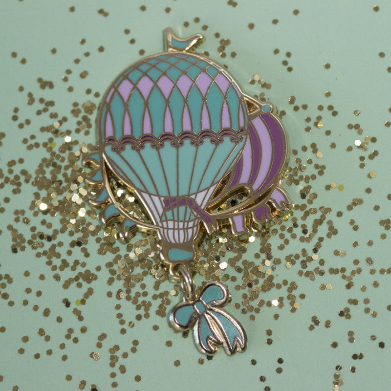 Turquoise Sea hot air balloon pin