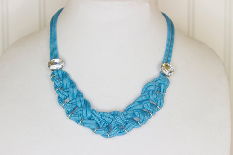 Sky blue with gems knotted necklace