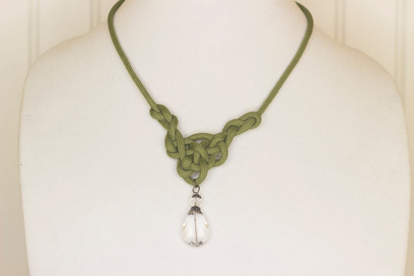 Moss green with pendant knotted necklace