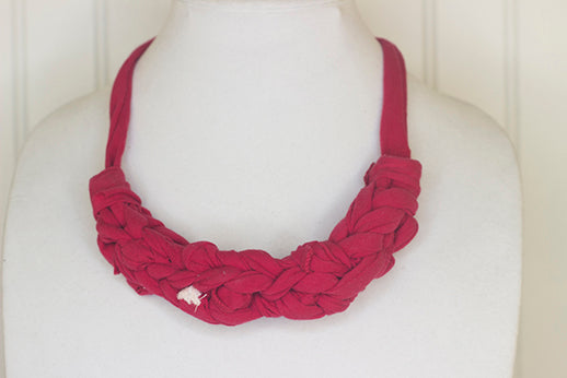 Red fabric necklace