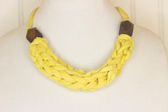 Bright yellow fabric necklace