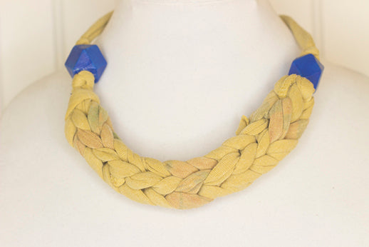 Mustard yellow fabric necklace