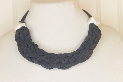 Dark grey fabric necklace