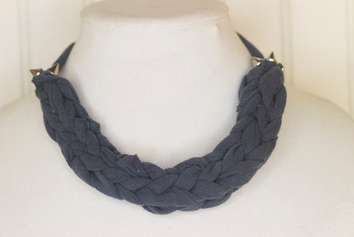 Dark gray fabric necklace