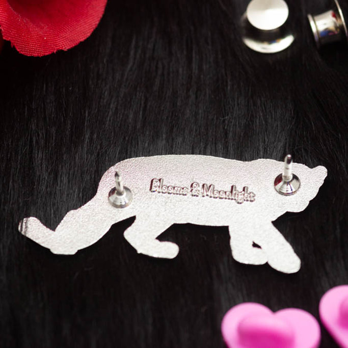 Panther with Blooms enamel pin - back