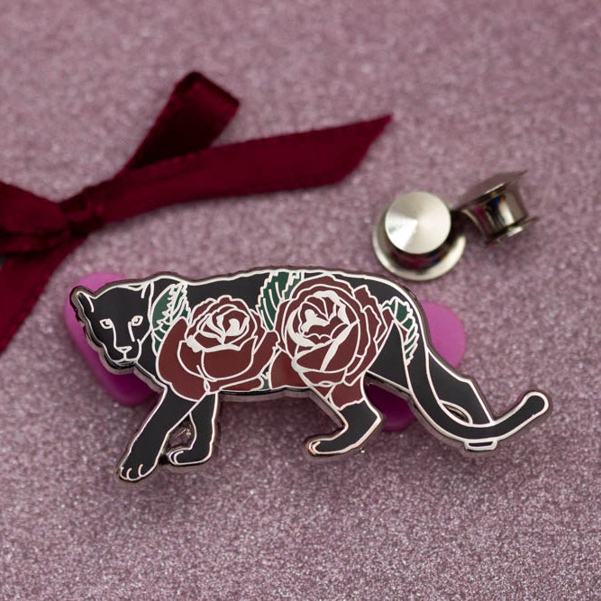 Panther with Blooms enamel pin - front