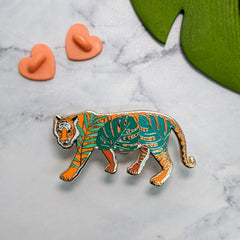 Tiger with Leaves pin