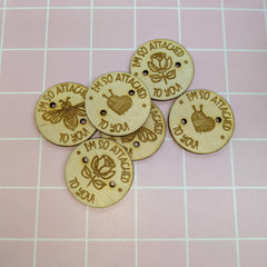 Wooden Pom Buttons (3)
