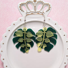 Monstera with Hearts Earrings