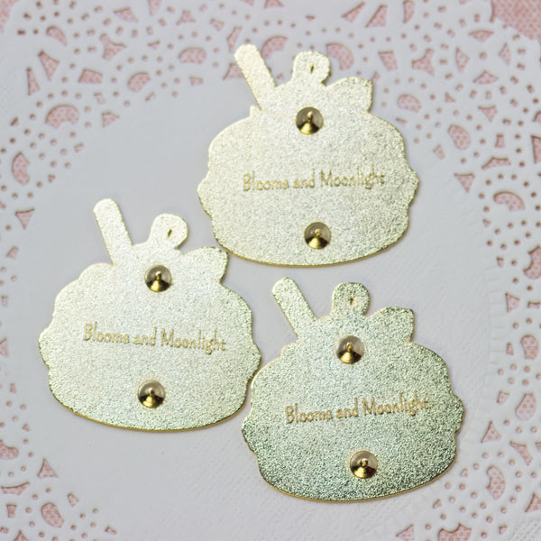 Blooming Macaron backs with logo stamps