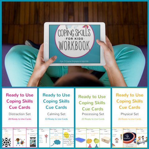 Digital Bundle - Workbook and Set of 4 Ready to Use Coping Skills Cue Cards