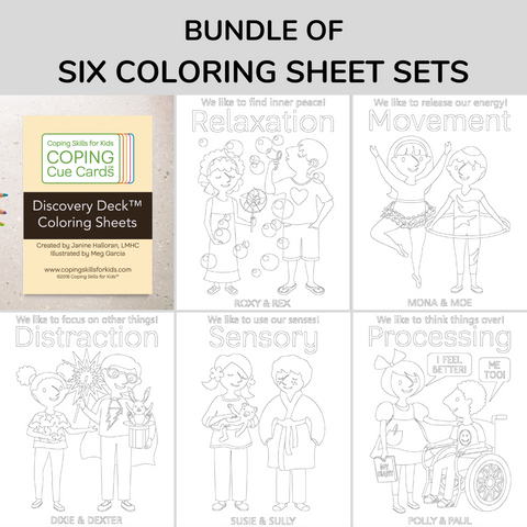 Bundle of All 6 Coping Cue Cards™ Coloring Sheets (Includes Discovery Deck)